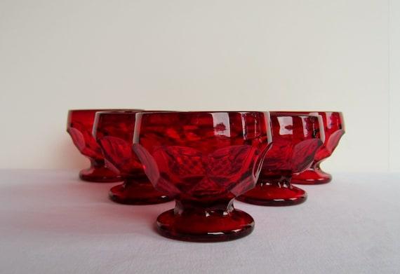 Vintage Viking Crystal Georgian-Ruby Sherbet Glasses - Set of 6