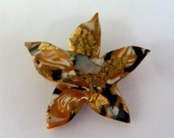 Gold Starfish Brooch Pin Hand Made Polymer Clay