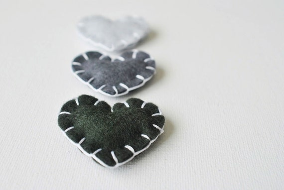 "40% OFF SALE - Wool Felt Heart Magnets in ""Charcoal"" - Set of 3 - Love Grey Gradient - Wedding Favors"