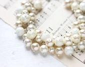 Ivory Wedding Bridesmaid Jewelry Pearl Cluster Bracelet - Classic Ivory White and Cream Color Wedding Jewelry
