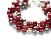 Red Pearl Cluster Bracelet for Red Wedding Bridesmaids - Dark Cherry Red, Beige and Brown, Earth Tones for Fall Autumn Weddings