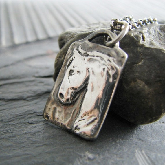 Nobility, Horse Jewelry, Artisan Fine Silver, Handmade Precious Metal Clay Horse Pendant with Sterling Ring