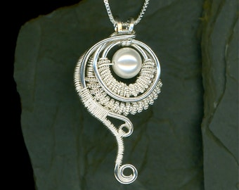 Wire Wrapped Pearl Pendant Sterling Silver Swarovski Pearl Pendant Wire Jewelry