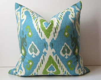 Ikat Pillow Cover - Decorative pillow - 19 inch - turquoise - blue and green -  SALE - ready to ship