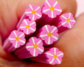Purple Pink Flower Polymer Clay Cane Floral Fimo Cane Nail Art Nail Decoration Scrapbooking Earrings Making Miniature Sweets Deco CFW072