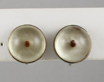 Vintage 1940s CORO Lucite Mustard Seed Earrings Signed