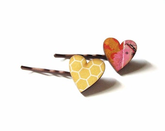 heart hair clip set in honeycomb yellow and pink - 2 bobby pins jewelry / hair accessories
