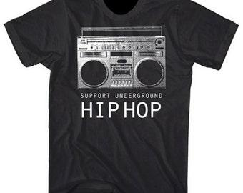 Graphic VIllain Support Underground Hip Hop Boombox shirt - Free Shipping!