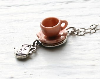 Tea Cup Necklace - Peach