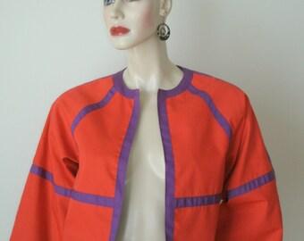 80s VINTAGE neon orangy red purple banding MOD punk cotton reversible jacket top