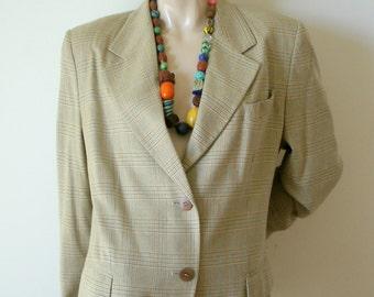 80s Vintage Missoni Donna green gold blue check plaid 50 50 silk wool blend boyfriend 2 button blazer jacket US sz 16 EU 50