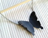 Black Butterfly Silhouette Necklace - upcycled bicycle innertube - eco friendly jewelry