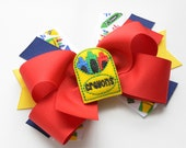 Back To School Girls Hair Bow, Crayon Center