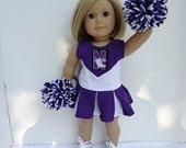 Northwestern University Cheerleader fits American Girl Doll, gym shoes, pompoms