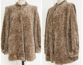 Vintage 70s Brown Faux Fur Coat Medium Large Oversize Plush Curly Comfy Boho