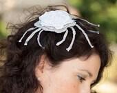 Wedding headband with a big flower - handmade crochet unique piece