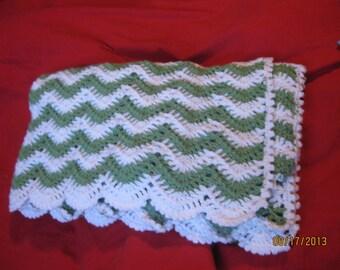 Handmade crocheted Lacy Ripple Baby Blanket - 100 percent Acrylic