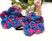 Set of 2 Pink and Blue Multicolored Girls Flower Hair Clips - Crochet Womens