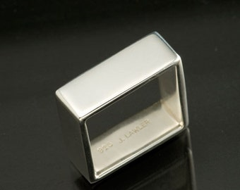 Sterling Silver Plain Wide Square Band, Silver Square Ring, Men's or Women's Wedding Ring