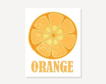 Kitchen Art: Orange Slice // Vintage Look Pop Art Print Wall Decor
