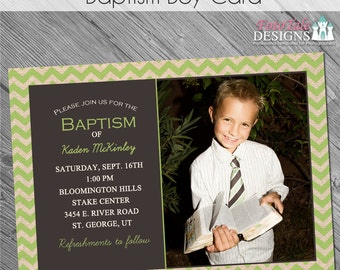 INSTANT DOWNLOAD - Baptism Boy Card- custom 5x7 photo card announcement