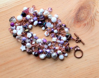 Amethyst and Moonstone Copper wire wrapped bracelet / psychic gemstones passion inner strength