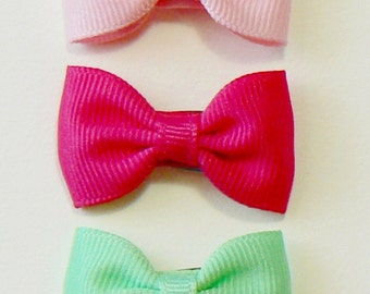 Girls Infant Hair Bow Set Newborn Small Tiny Little Baby Bows Kids Boutique Hair Clip Hairbows (Set of 5) Choose Colors