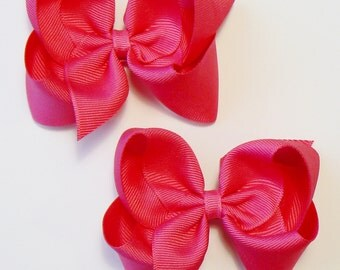 Girls Hair Bow Set Medium Childrens Kids Boutique Dress Fashion Hair Clip Hairbows Hair accessories (Set of 2) Choose Colors