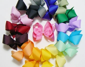Large Hair Bow Set Big Girls Childrens Kids Boutique Fashion Hair Clip Hairbows Hair Accessories (Set of 16)