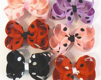 Girls Polka Dot Hair Bow Set Small Toddler Childrens Kids Boutique  Fashion Hair Clip Hairbows Hair Accessories (Set of 6) Choose Colors