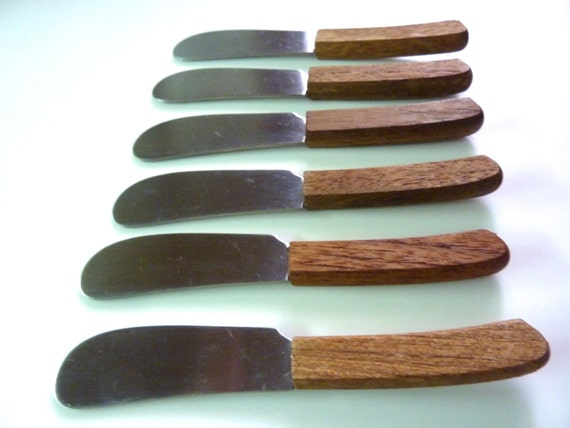 6 canap knives or spreaders stainless wood handle for Canape knife