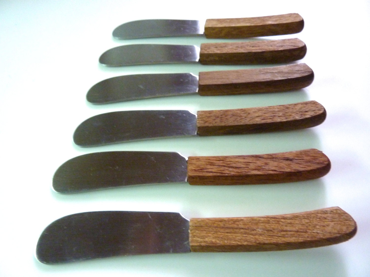 6 canap knives or spreaders stainless wood handle