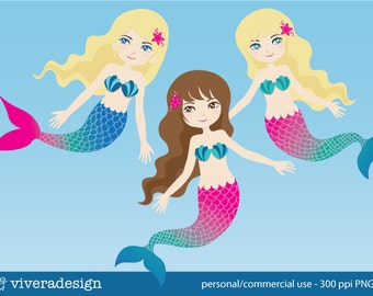 Mermaid Clip Art - in Pink and Turquoise