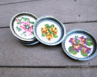 Vintage Coasters Flowers Needlepoint Cottage Chic Farm House Shabby Chic Roses