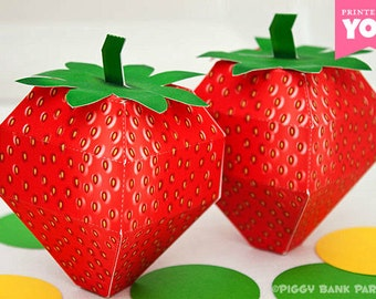 Strawberry Favor Box : DIY Printable Fruit PDF - Instant Download
