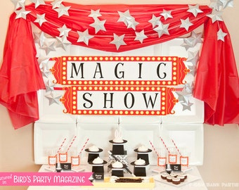 MAGIC TRICK Collection - DIY Printable Magician Birthday Party Decoration // Rabbit // Magician's Hat // Magic Show // Birthday Decor