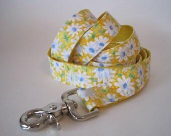Yellow Daisy Dog Leash Lead, Daisy Dog Leash, Yellow Dog Leash, 5 foot Leash, Yellow Leash
