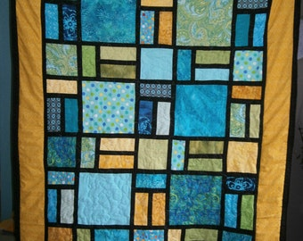 Stained glass look throw size quilt