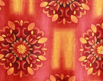 Vintage 1960s  Barkcloth Tropical Sunrise Floral Fabric Panel