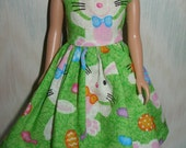 """Handmade 10.5"""" teen sister fashion doll clothes - Green and white bunny dress"""