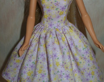 "Handmade 11.5"" fashion doll clothes -purple cotton print dress"