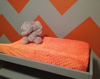 ORANGE MINKY Change Pad Cover- Minky Change Pad Cover- Orange Minky Dot- Orange Nursery Bedding- Ready to Ship