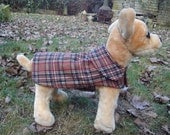 Brown Red and Black Plaid Coat- Size XX Small- 8 to 10 Inch Back Length - Or Custom Size
