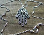 Hamsa pendant necklace, hand of Fatima necklace,  hand necklace, wire wrapped Hamsa necklace