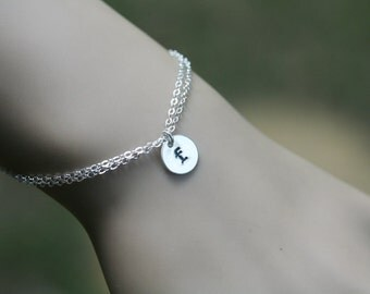 initial letter charm bracelet,monogram bracelet,Sterling silver,personalized initial,bridesmaid bracelet,Bridal wedding jewelry