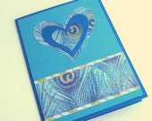 Blue and Teal Peacock Hearts Handmade Valentine Card Love Card or Note Card Blank Inside
