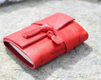 """Red Leather Notepad, """"On the go light size"""", Travel book, notebook"""