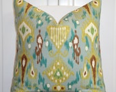 BOTH SIDES Or Front Only - IKAT - Decorative Pillow Cover - Khanjali - Robert Allen - Aqua - Turquoise - Brown