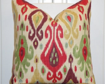 BOTH SIDES - Or Print on the Front Only - Decorative Pillow Cover - Red - Green - Plum - Blue - IKAT - Cushion Cover - Sofa Pillow
