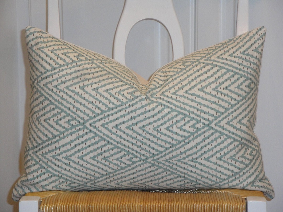 Decorative pillow cover aqua brown sofa pillow trellis - Throw pillows for brown sofa ...